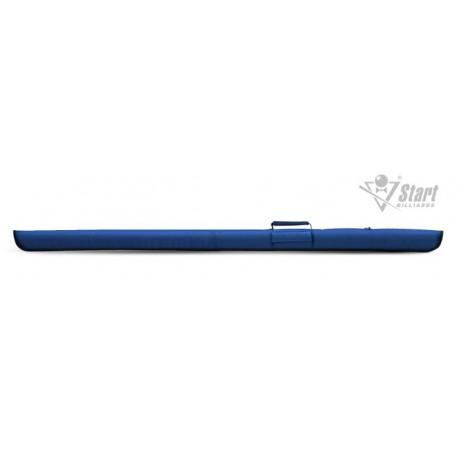 Чехол для цельного кия, мягкий, торцевая застежка, ручка, 1 карман, цвет: черный, синий