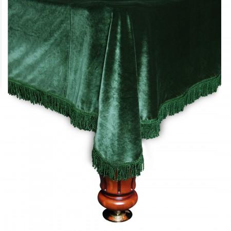 Покрывало милано 8фт бархат зелёное/зелёная бахрома