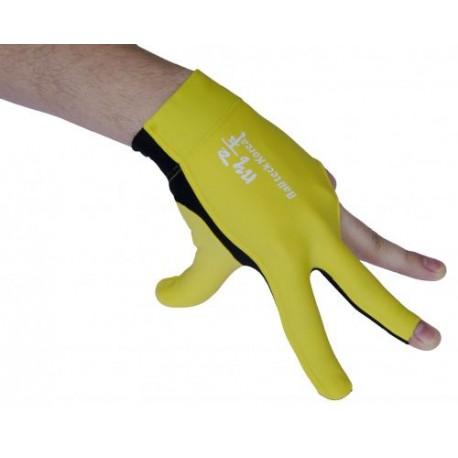 Перчатка бильярдная «Ball Teck MFO» (черно-желтая, вставка замша), защита от скольжения
