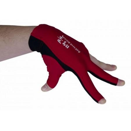 Перчатка бильярдная «Ball Teck 3» (черно-красная, вставка замша), защита от скольжения
