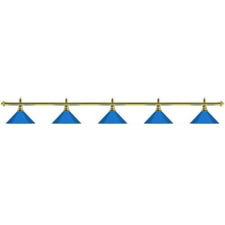 Лампа на пять плафонов «Blue Light» (золотистая штанга, синий плафон D35 см)