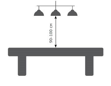 Расстояние от бильярдного светильника до стола